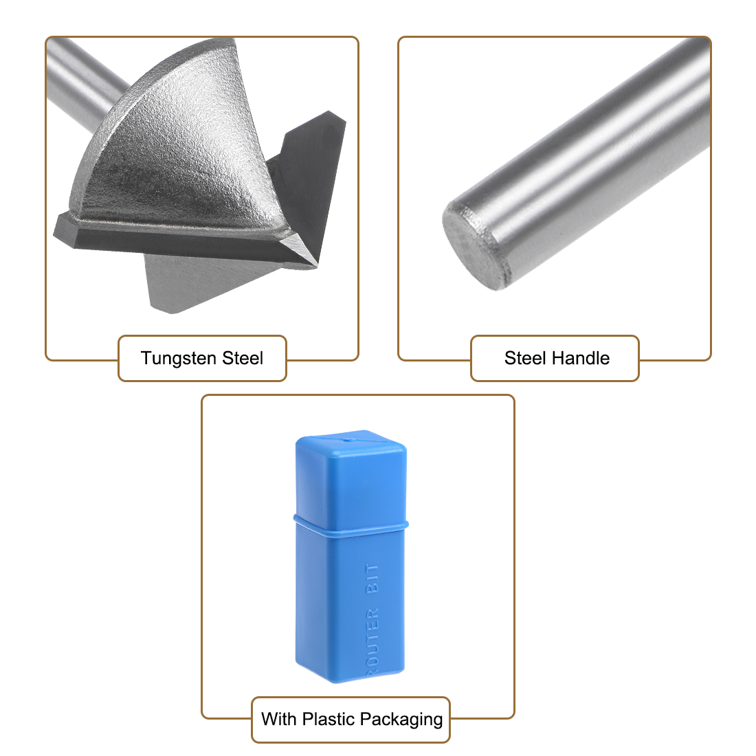 Router Bit 6mm Shank 32mm Dia 90 Degree V-Groove End Mill Tungsten Steel for CNC