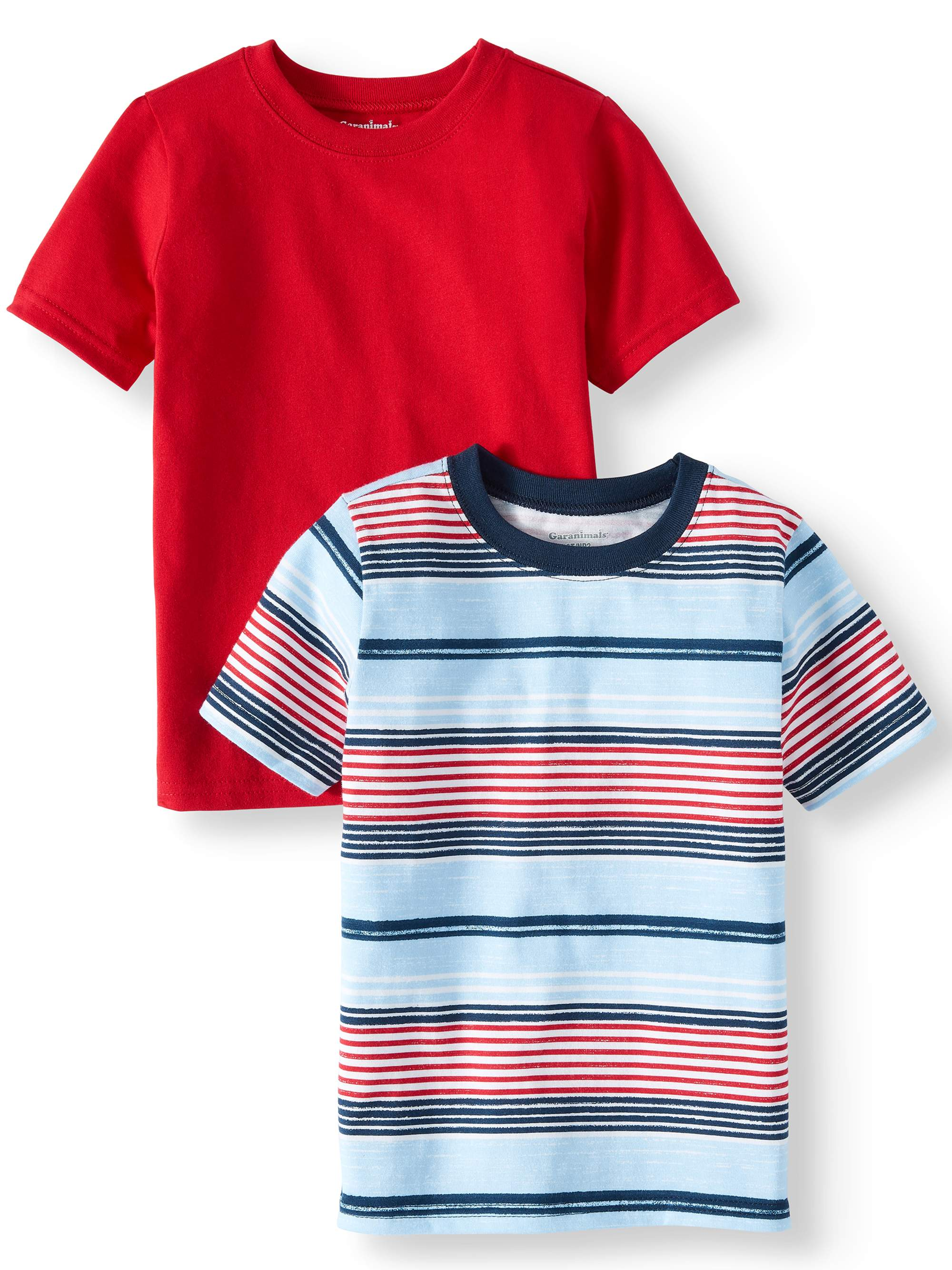 Striped & Solid T-Shirts, 2pc Multi-Pack (Toddler Boys)