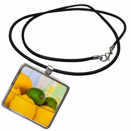 Regency Bowl Pendant (3dRose Yellow lemons and green lime fruits in a glass bowl - Necklace with Pendant (ncl_273228_1) )