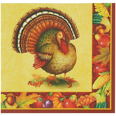 Festive Turkey Thanksgiving Paper Beverage Napkins, 5 in, - Thanksgiving Paper Products