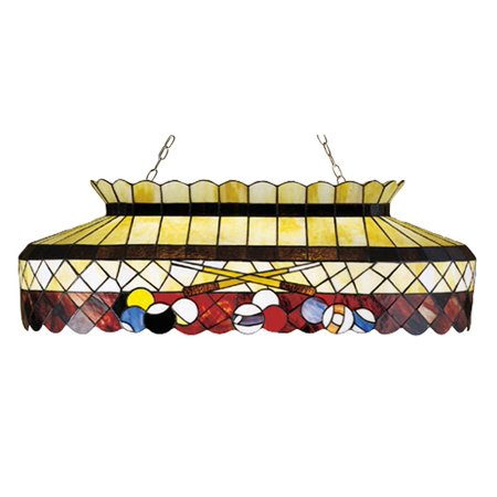 Meyda Tiffany - 27615 - Six Light Oblong Pendant - Burgundy Billiard - Beige Burgundy Multi-295pack