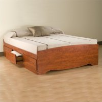 Prepac Monterey Cherry Queen Platform Storage Bed