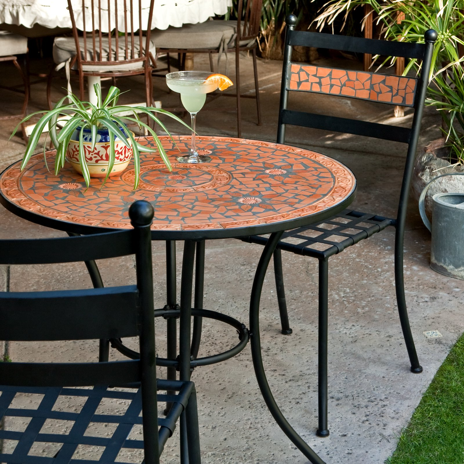 Coral Coast Terra Cotta Mosaic Bistro Set Walmartcom - Outdoor high top bistro table and chairs