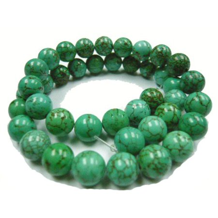 12mm Magnesite Dyed Green Turquoise (White Buffalo ) Round, Loose Beads, 40cm 15 inch Stone