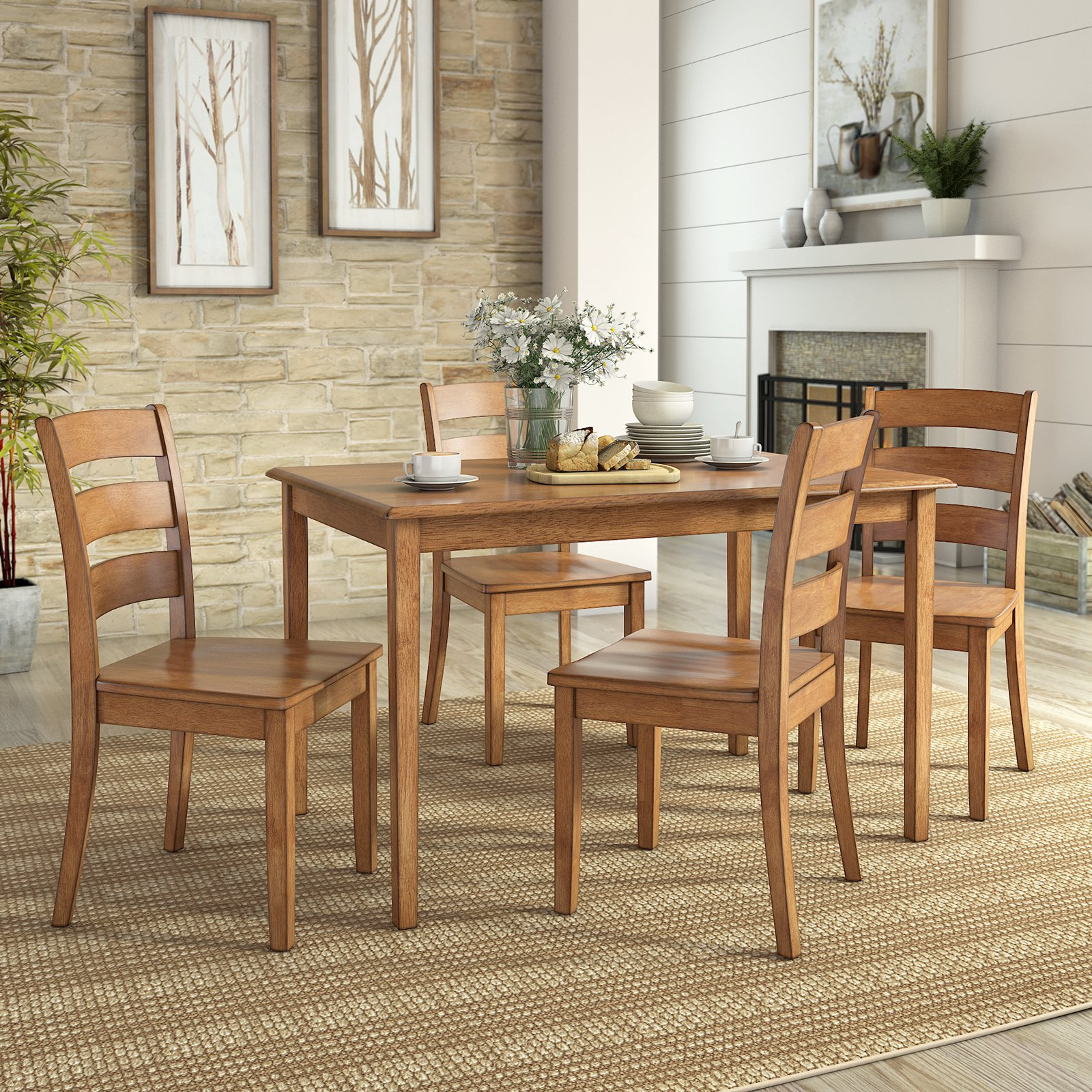 Product image weston home lexington 5 piece dining set with 4 ladder back chairs