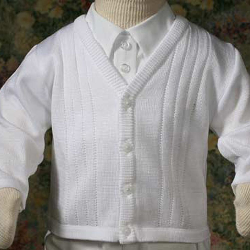 Baby Boys Cute Soft White Knit Baptism Christening Sweater 3-24M ...