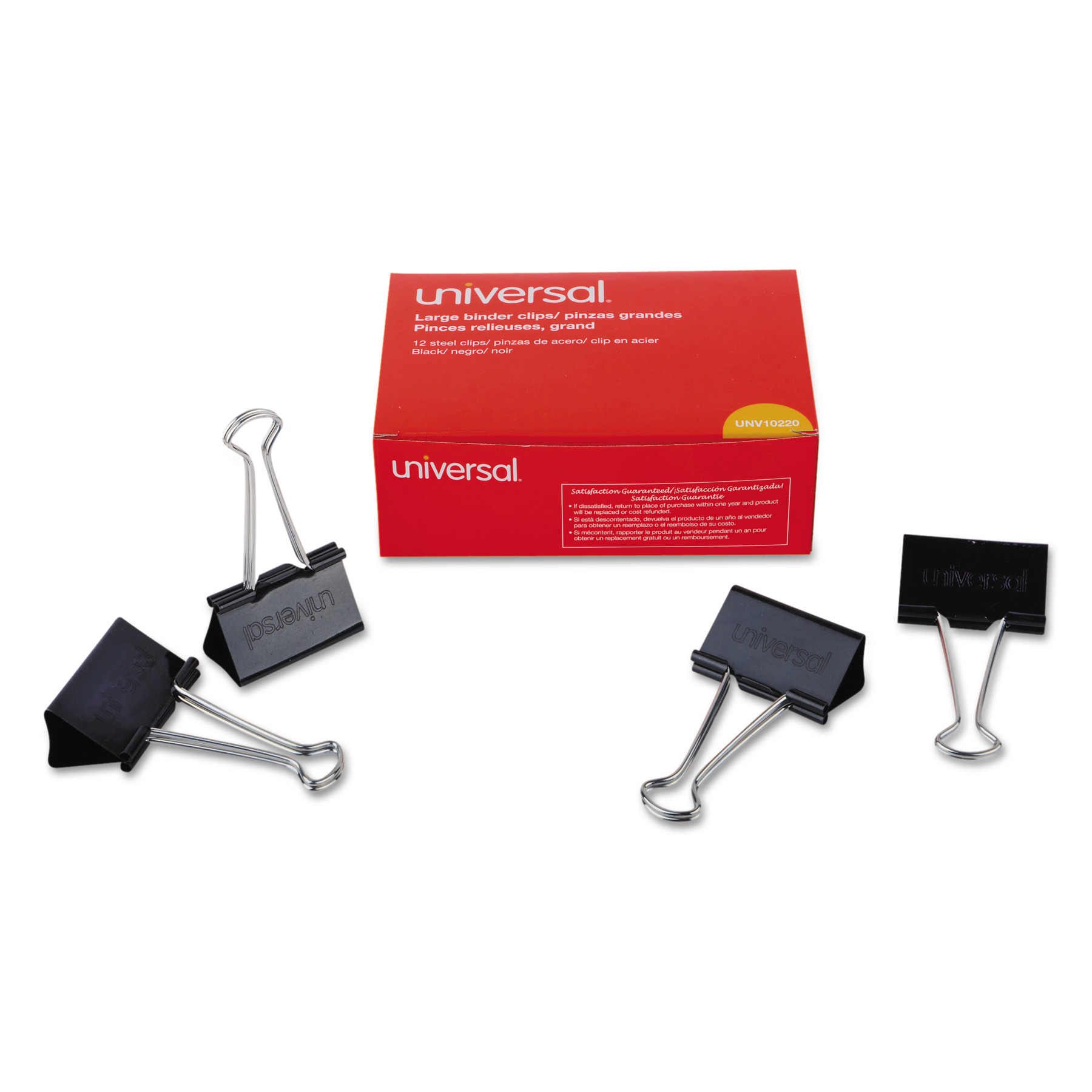 "Universal Large Binder Clips, 1"" Capacity, 2"" Wide, Black"