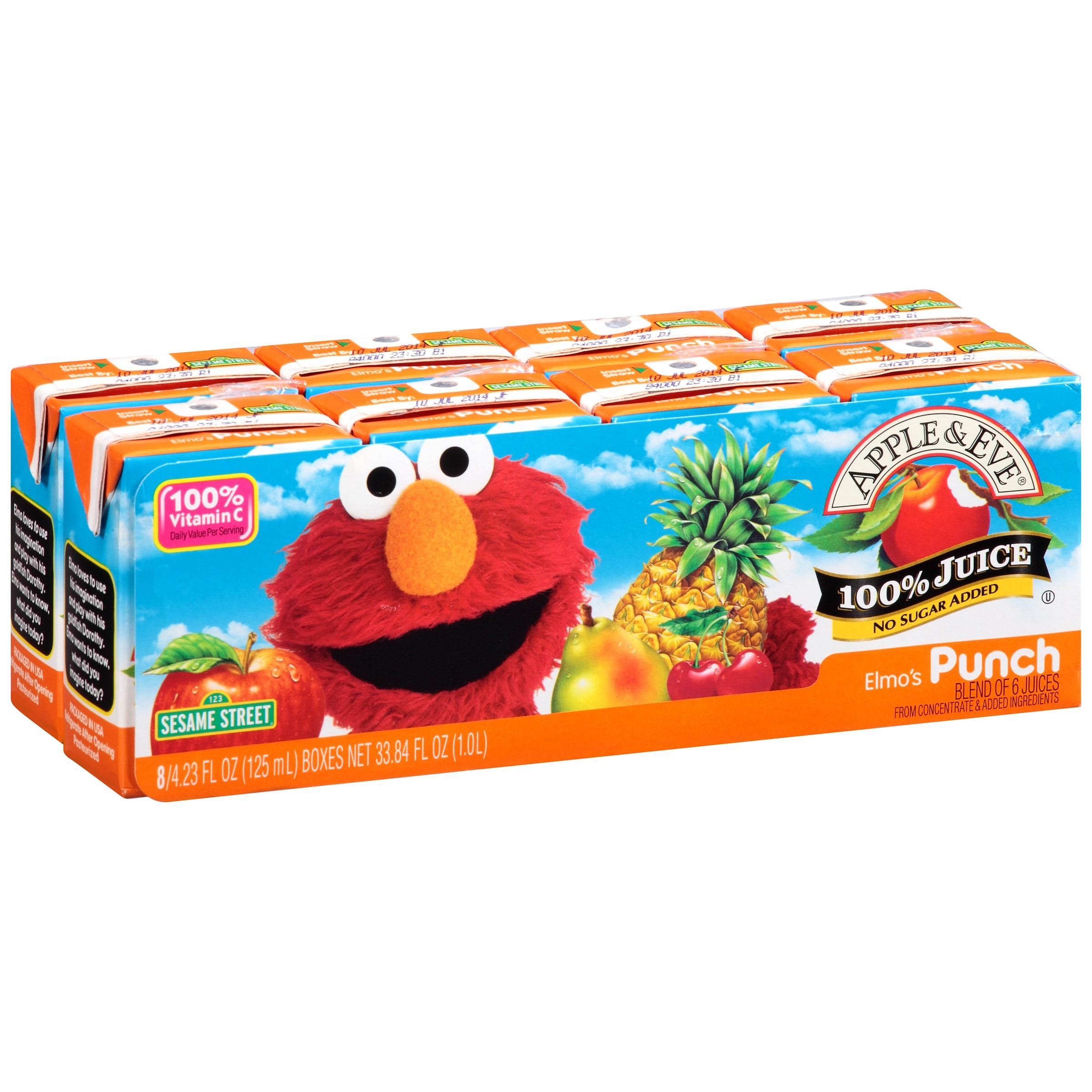 Apple & Eve Sesame Street 100% Juice, Elmo's Punch, 4.23 Fl Oz, 8 Count