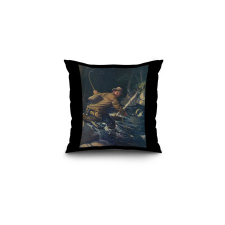 National Sportsman - Fly Fisherman Caught himself on Tree Attempting to Net his Catch (16x16 Spun Polyester Pillow, Black - Fisherman And His Catch Halloween Costume