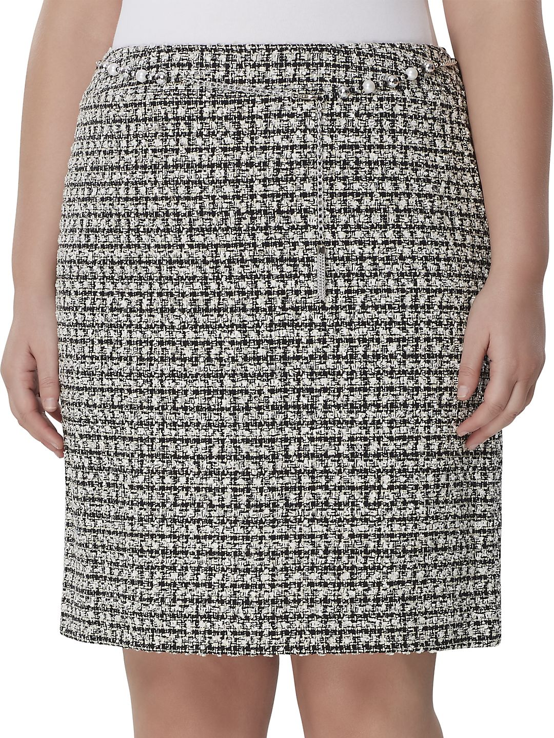 Chain-Belted Boucle Pencil Skirt