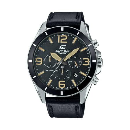 Casio Men's Edifice Chronograph Watch, Black Leather Strap