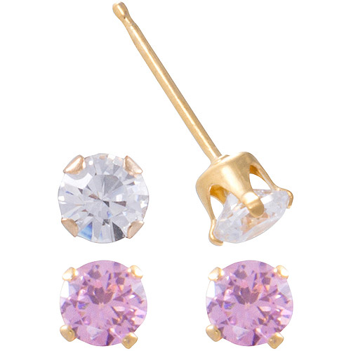 Girls' 18kt Gold Over Sterling Silver Pink and Clear CZ Stud Earrings Set
