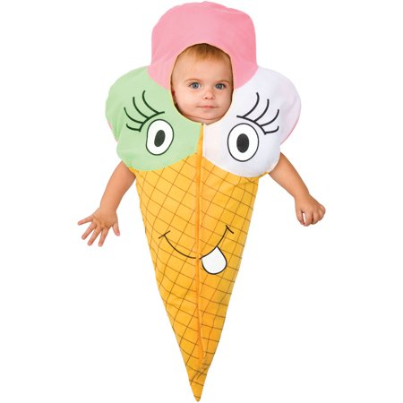 Ice Cream Halloween Costume (Living Fiction Lil Ice Cream Cone Baby Halloween Infant Costume, Large)