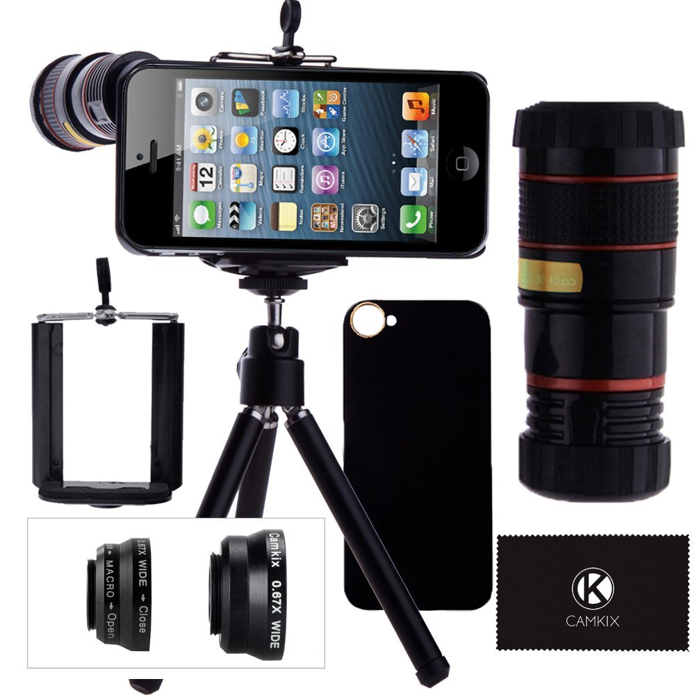 Camera Lens Kit for iPhone SE/5S/5 including 8x Telephoto Lens/Fisheye, Macro, Wide Angle Lens/Tripod/Phone Holder/Hard Case/Bag/Cleaning Cloth