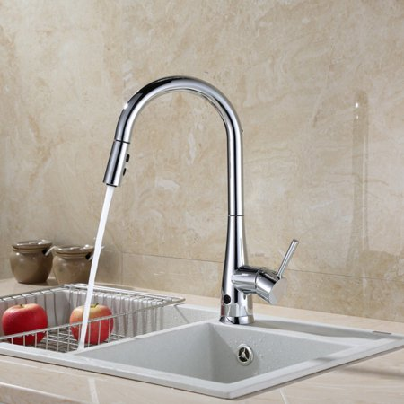 RUNFINE Group RF411002 patented design Hands Free Sensor 8 inch deck  kitchen faucet, Chrome Plated Finish.