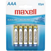 Maxell 723810 AAA Alkaline Batteries, 10-Pack, Carded