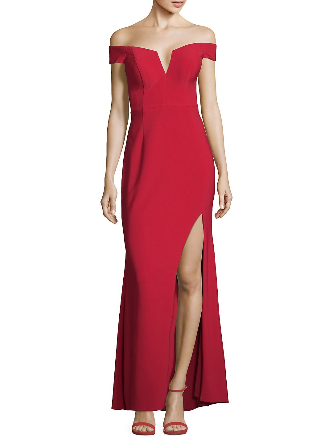 Off-The-Shoulder High-Slit Gown