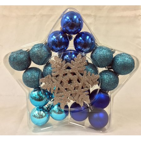 Blue Miniature Balls with Silver Snowflakes Christmas Ornaments Set of 24 New