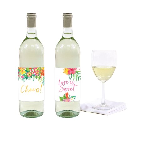 Tropical Floral Garden Party Wedding, Wine or Apple Cider Bottle Labels, - Wedding Wine Bottle Labels