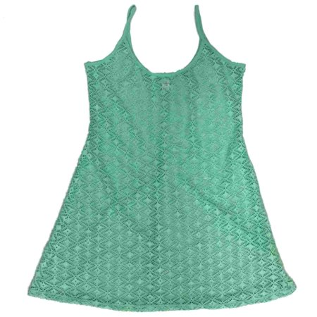Junior Womens Aqua Green Lace Dress Style Swim Suit Cover Up