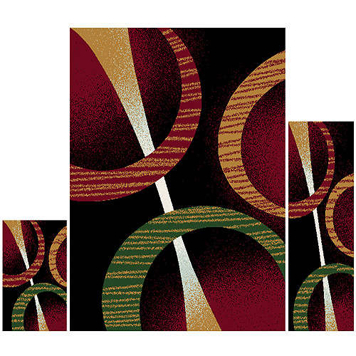 Home Dynamix Ariana 3-Piece Area Rug Set, Black/Red