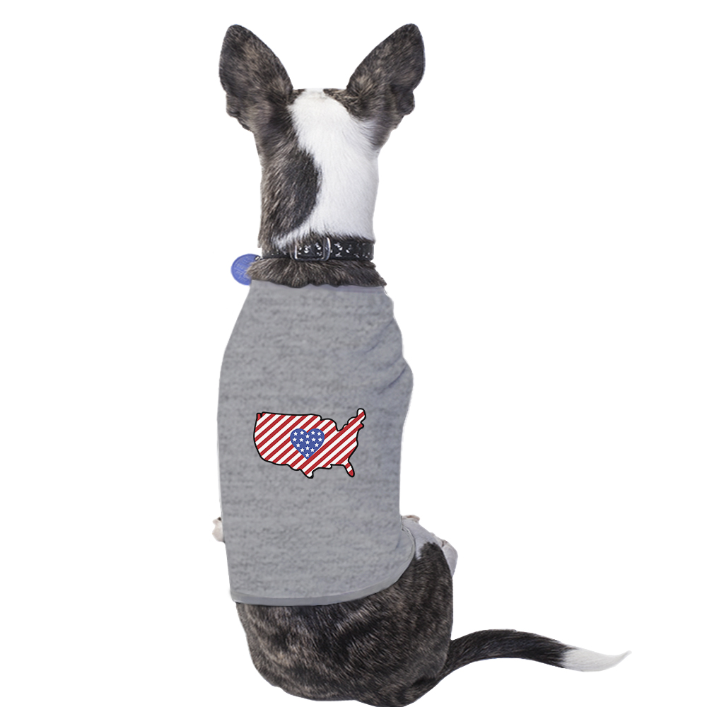American Flag Pattern USA Map Small Dog Shirt For Independence Day