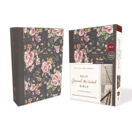 NKJV, Journal the Word Bible, Cloth Over Board, Gray Floral, Red Letter Edition, Comfort Print : Reflect, Journal, or Create Art Next to Your Favorite Verses