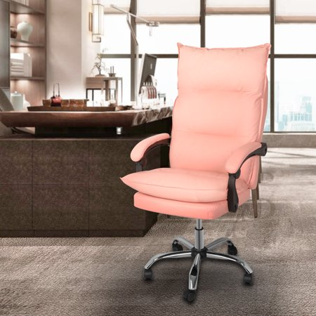 Magshion High-Back Faux Leather Ergonomic Heavy Duty Executive Swivel Office Desk Chair Pink