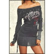 Women Fashion Affliction American Customs Hectic Skull Off Shoulder Lace Up Long Sleeve Sweater Mini Dress