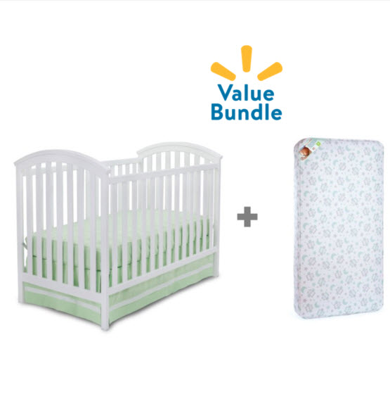 Delta Children Arbour Crib + Mattress Bundle