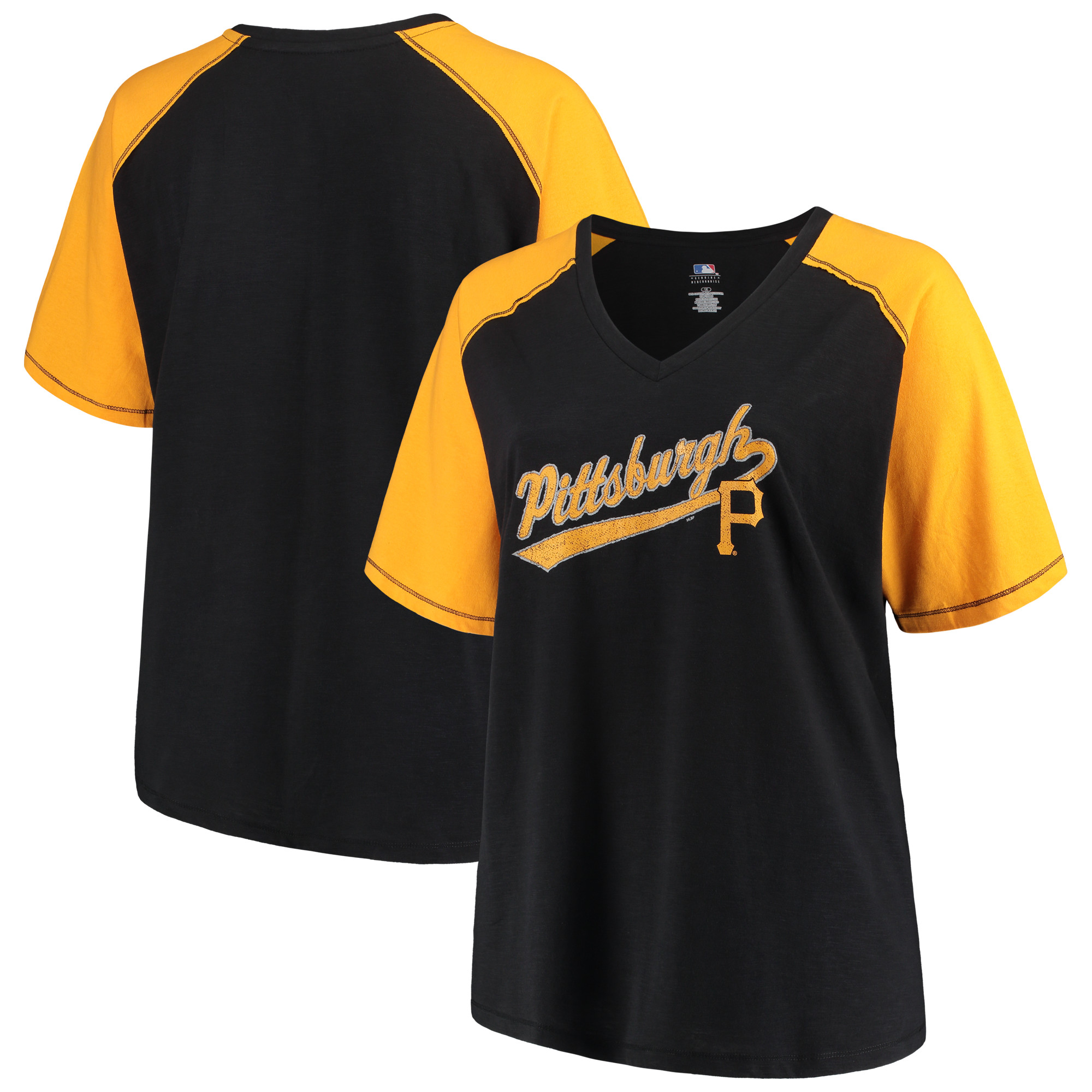 Women's Majestic Black/Gold Pittsburgh Pirates Plus Size High Percentage Raglan V-Neck T-Shirt