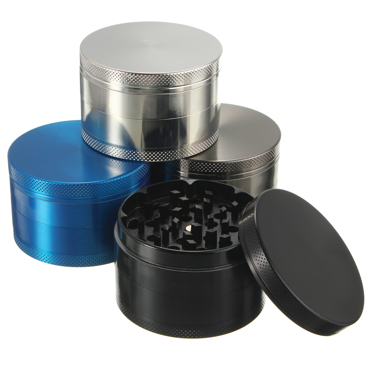4-Layers Zinc Alloy Herb Spice Grinder Portable Smoke Crusher Spice Crusher Tobacco Herbal,Muilt Color