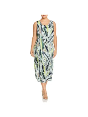Nic + Zoe Womens Plus Palm Printed Scoop Neck Maxi Dress