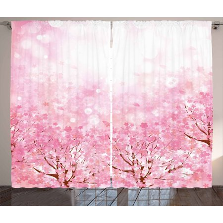 Light Pink Curtains 2 Panels Set, Japanese Cherry Blossom Sakura Tree with Romantic Influence Asian Nature Theme, Window Drapes for Living Room Bedroom, 108W X 84L Inches, Baby Pink, by Ambesonne