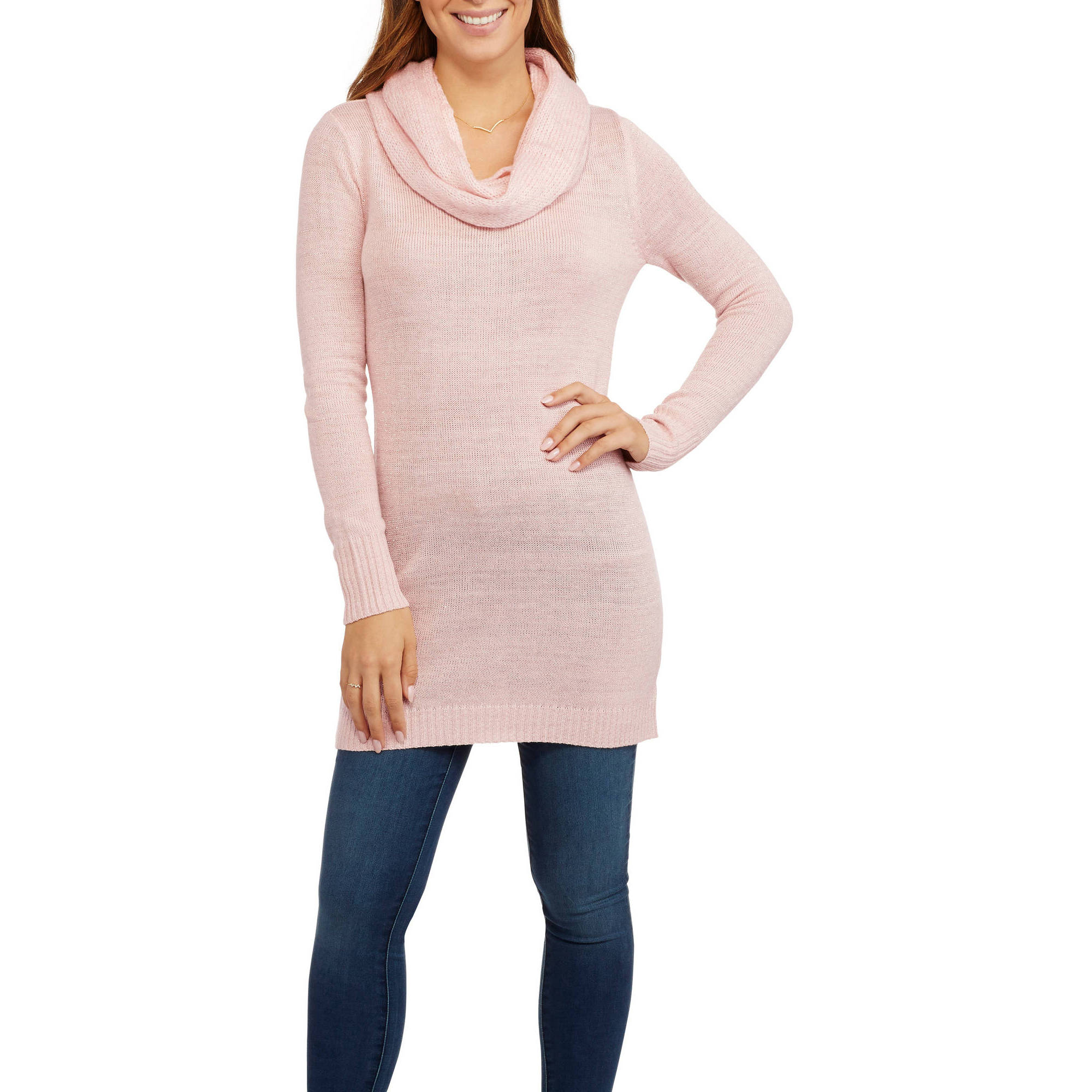 Faded Glory Women's Lurex Tunic Sweater with Scarf - Walmart.com