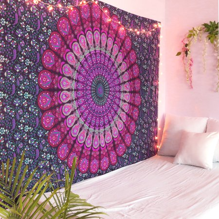 Hoffman Tapestry (Purple and Pink Peacock Mandala Tapestry Twin Size Boho Beach Throw Dorm Room Indian Wall Hanging Art Bedspread Outdoor Picnic Blanket by Oussum)