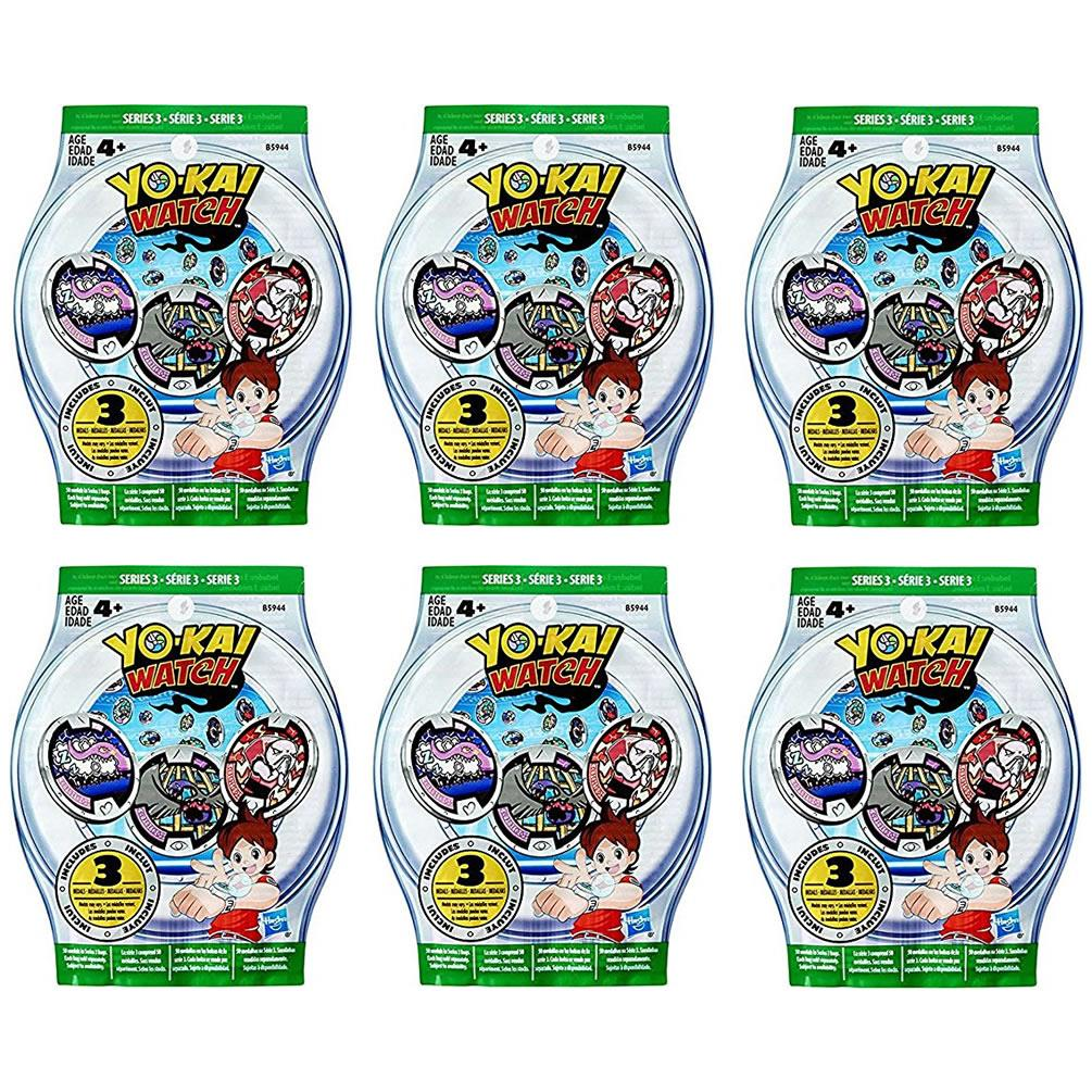 Yo-Kai Watch Blind Bag Series 3 Medals 6-Pack Mystery Set Hasbro by Hasbro