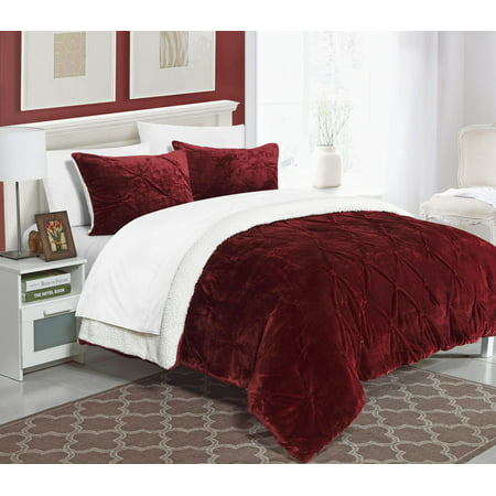 Chic Home 3-Piece Chiara Pinch Pleated Ruffled and Pin tuck Sherpa Lined Queen Bed In a Bag Comforter Set Burgundy ()