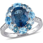 5-3/8 Carat T.G.W. Blue and White Topaz Sterling Silver Halo Cocktail Ring