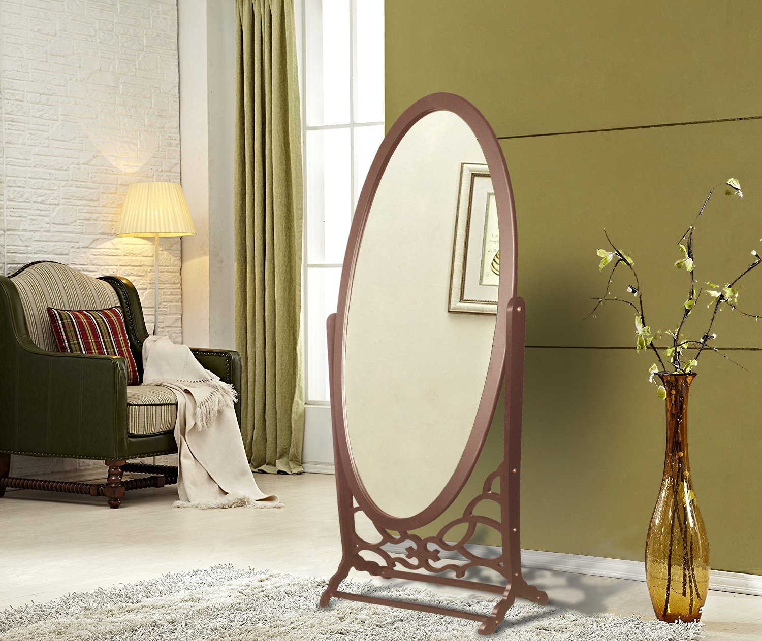 Chic Home York Mirror Modern Free standing Spindle accent legs Floor Mirror, Espresso by Chic Home