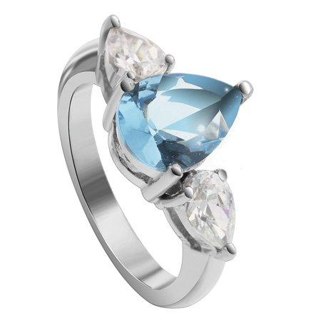 Gem Avenue Sterling Silver Pear Shape Cubic Zirconia Three stone Ring