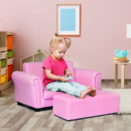 Costway Pink Kids Sofa Armrest Chair Couch Lounge Children Birthday Gift w/ Ottoman ()