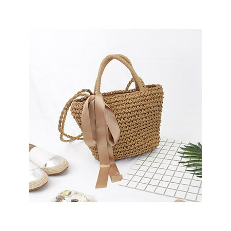 Meigar Women / Girls Weave Straw Bag - Beach Tote Handbag - Basket Shoulder Bag Summer Best