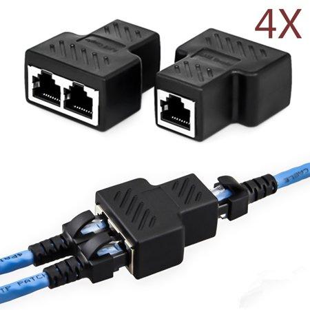 4Pcs RJ45 1 to 2 Socket Female LAN Ethernet Cable Connector Splitter ...