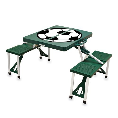 Picnic Time Hunter Green Folding Picnic Table With Soccer Imprint
