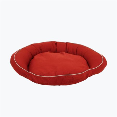 Red Barn Pet Foods (Carolina Pet 019460 Classic Canvas Poly Fill Bolster Bed with Contrast Cording - Barn Red with Khaki Cord, Medium)