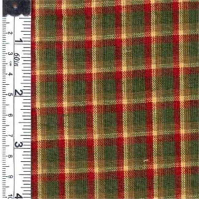 Textile Creations 563 Rustic Woven Fabric, Plaid Red, Green And Yellow, 15 yd.
