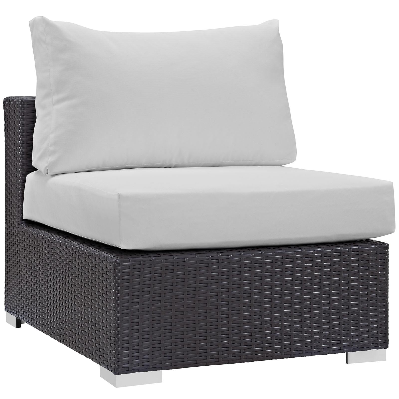 Modern Contemporary Urban Design Outdoor Patio Balcony Lounge Chair, White, Rattan