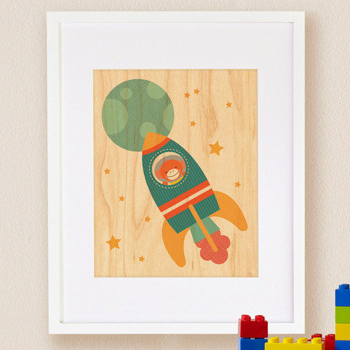 Petit Collage Rocket Monkey, Small Framed Art