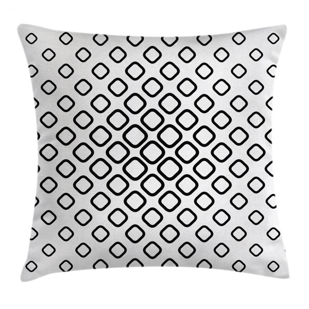 Abstract Decor Throw Pillow Cushion Cover Trippy Fractal Geometric Rounded Square Shapes Minimalist Artisan Pattern Decorative Square Accent Pillow Case 18 X 18 Inches Black White By Ambesonne Walmart Com Walmart Com